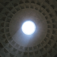 Ray of light shining thru Oculus in Pantheon